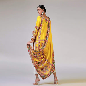 Rizwan Beyg - Renaissance Garlands On Printed Yellow Shirt with Dupatta