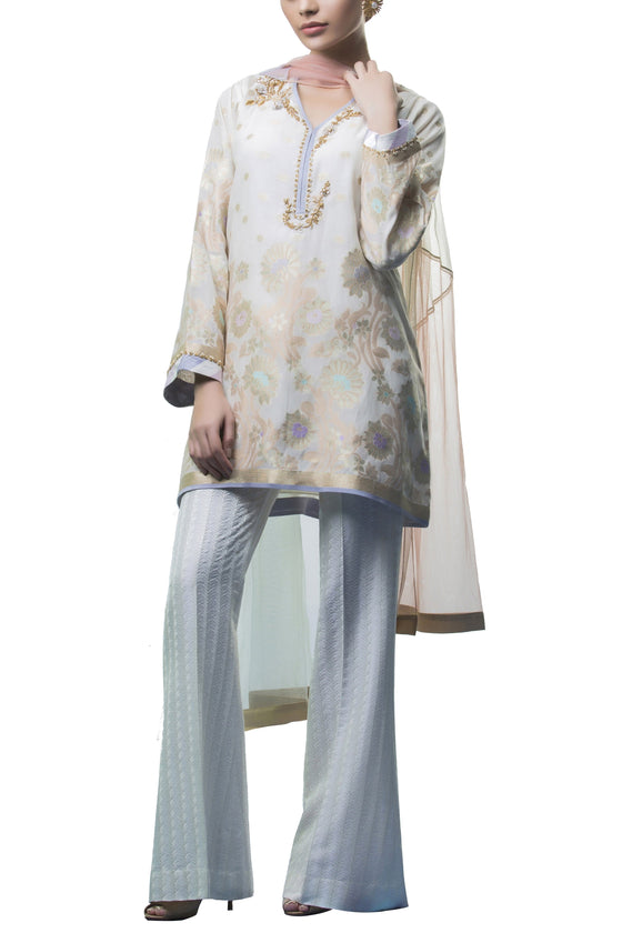 Sania Maskatiya - Organza Woven Hand Embroidered Shirt