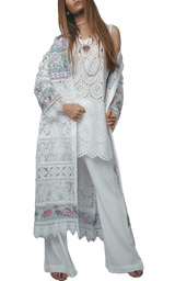 Sanam Chaudhri - White And Blue Lace & Chikan Coat With Chikan Inner Shirt & Crepe Bootleg Trousers