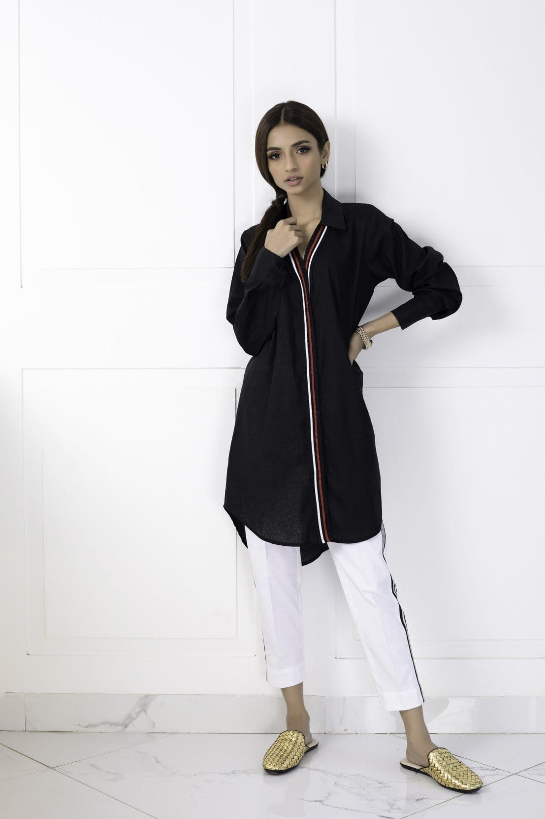Shehrnaz - Black Irish Linen Shirt