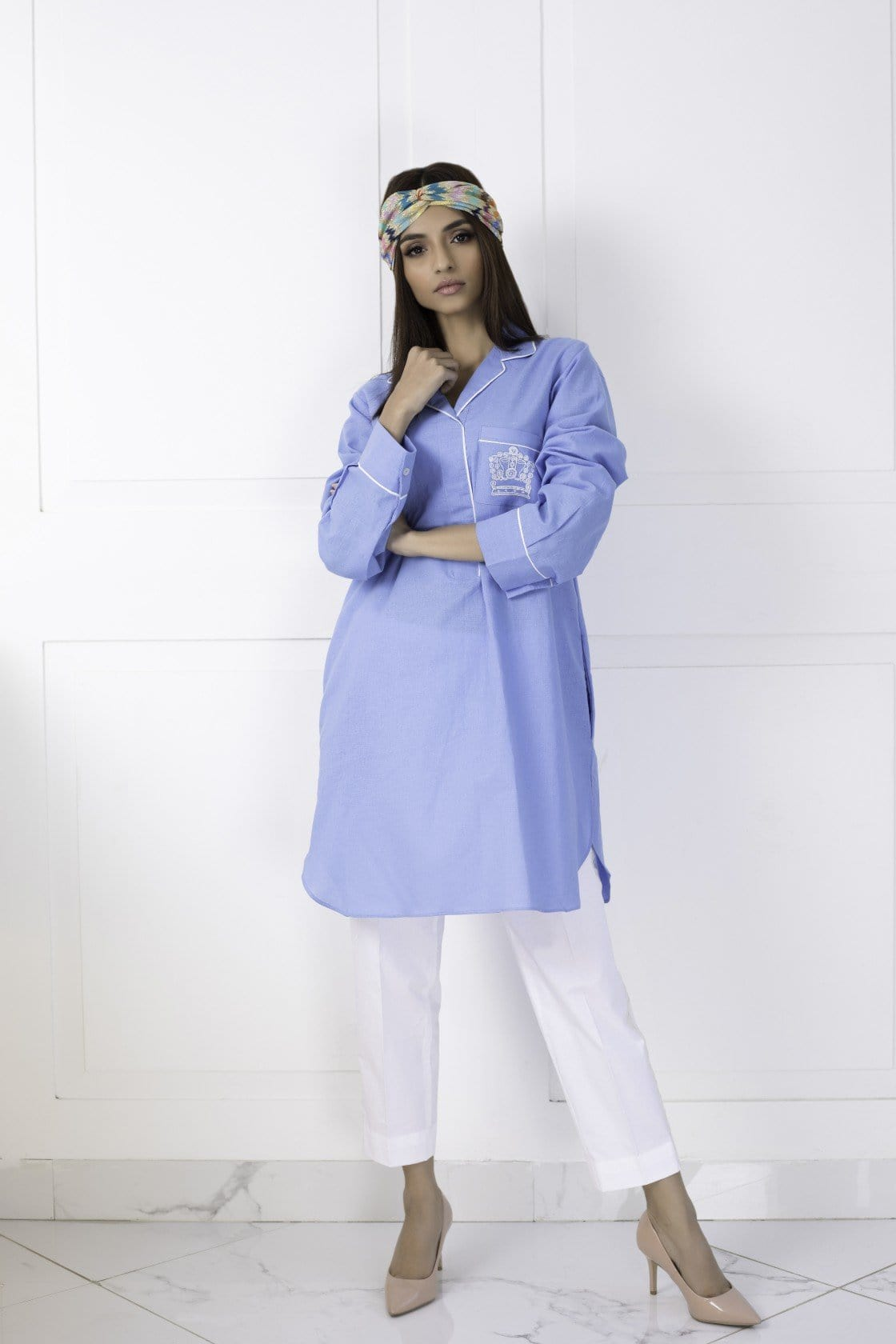 Shehrnaz - Blue Cotton Shirt