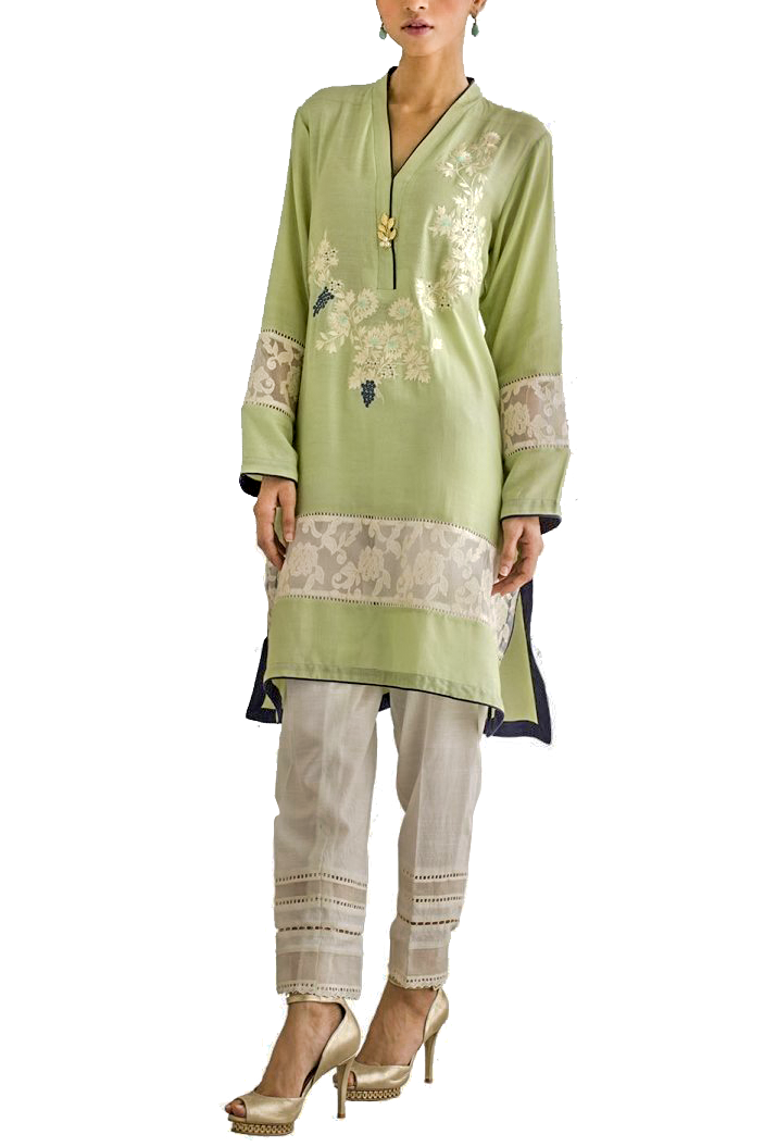 Deepak Perwani - Light Green Cotton Net Embroidered Shirt With Pants