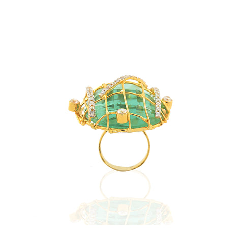 Rema Luxe - Gold & Green Brass Metal Spinning Webs Through Stars Ring