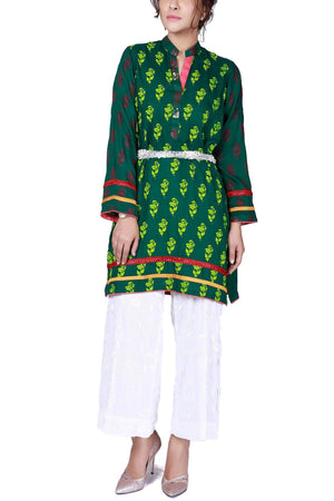 Huma Adnan - Green Hand Block Print Cotton Shirt with Pants