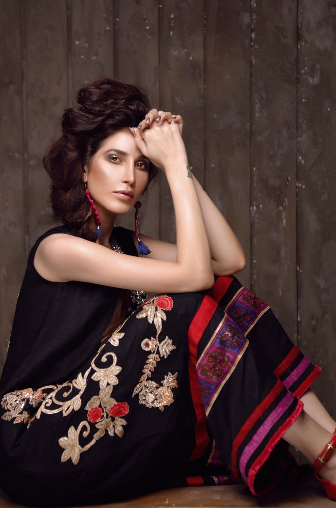 FnkAsia - Black Raw Silk Kameez/Dress