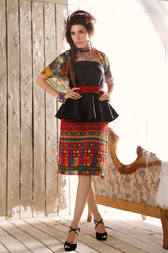 FnkAsia - Jamawar Top With Chiffon Skirt