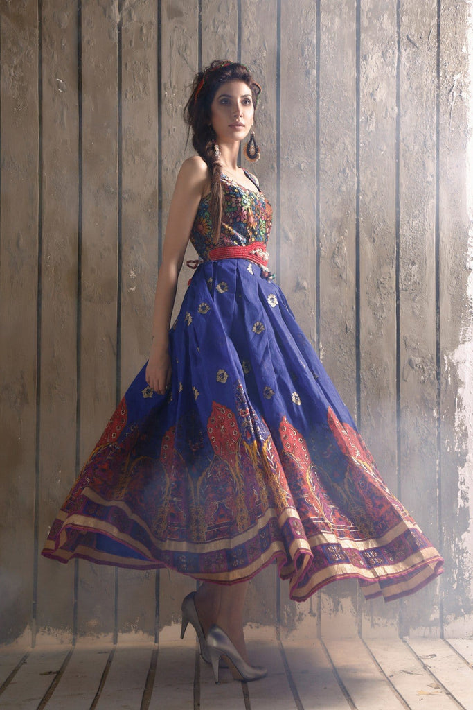 FnkAsia - Blue Raw Silk Kameez/Dress