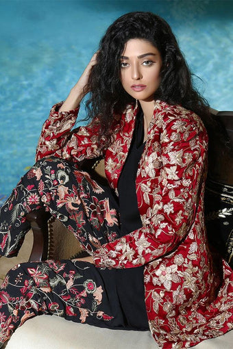 Fnkasia - Red Embellished Belted Georgette Jumpsuit With Embroidered Jacket
