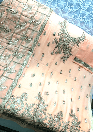 Designs by Amina - The Press Gota Jall Dupatta and Hand Embroidered Shirt