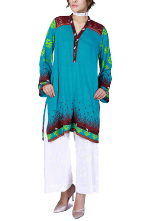 Huma Adnan - Turquoise Hand Block Print Cotton Shirt with Pants