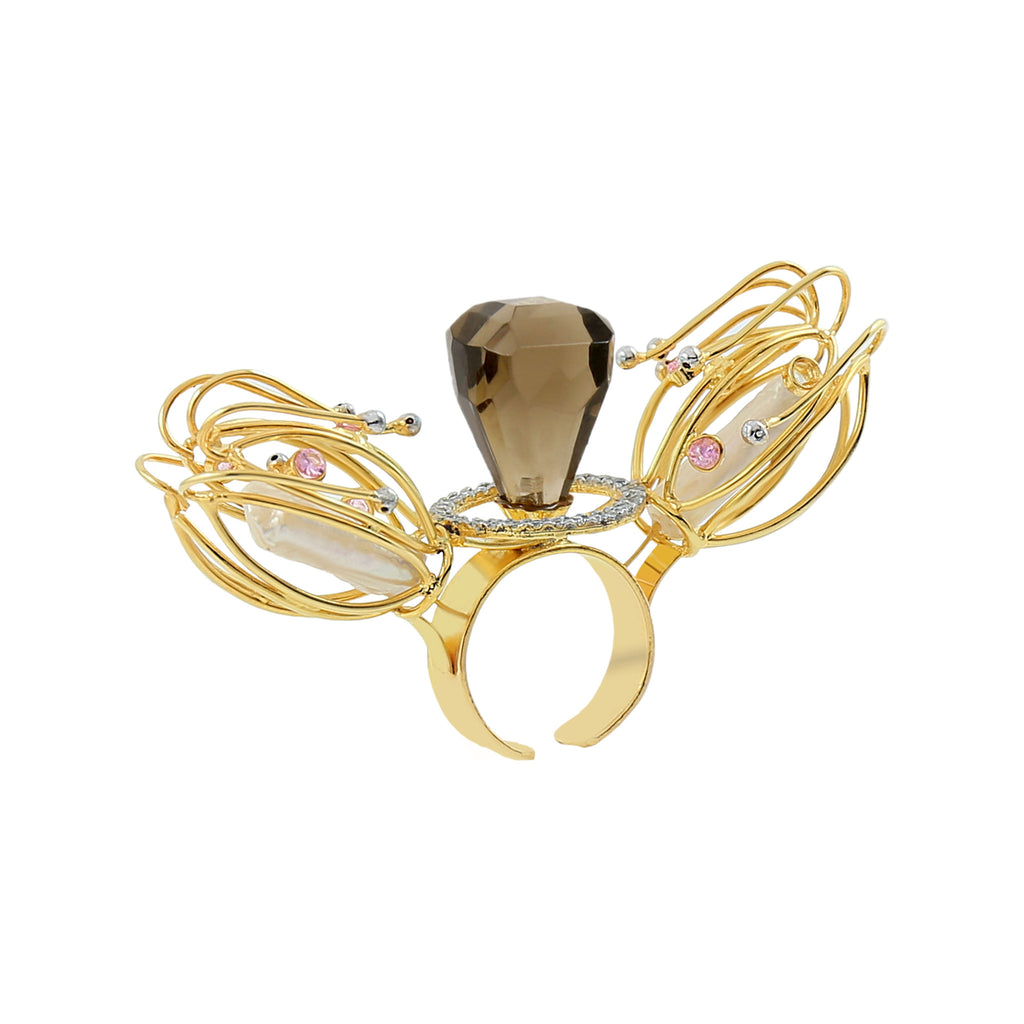 Rema Luxe - Gold & Black Brass Metal Crickets Ring