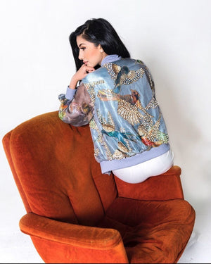 Samaira Ghani - Cool Grey Birds Bomber Jacket