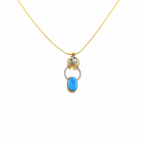 Rema Luxe - Gold Brass Metal Zumanity Pendant With Opal Pendant