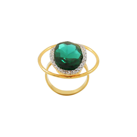 Rema Luxe - Gold & Green Brass Metal Kooza Ring