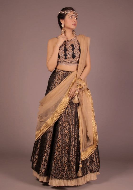 Fnkasia - Black Halter Top With Skirt & Dupatta