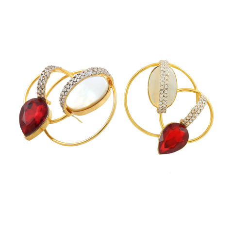 Rema Luxe - Red Brass Metal Sparks Of Hoops Ear Studs