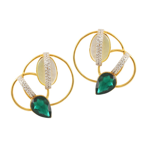 Rema Luxe - Green Brass Metal Sparks Of Hoops Ear Studs