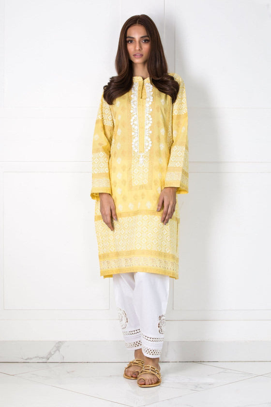 Shehrnaz- -Yellow Shirt with White Blockprint