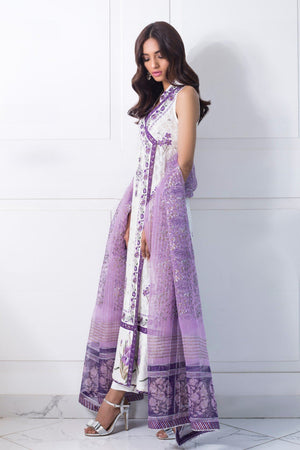 Shehrnaz - White Cotton Net Angrakha With Purple Dupatta & White Capri