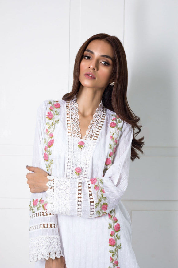 Shehrnaz- -White Kurta with Cross-Stitch