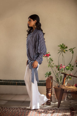 Insam - Greyish Blue Pleated top