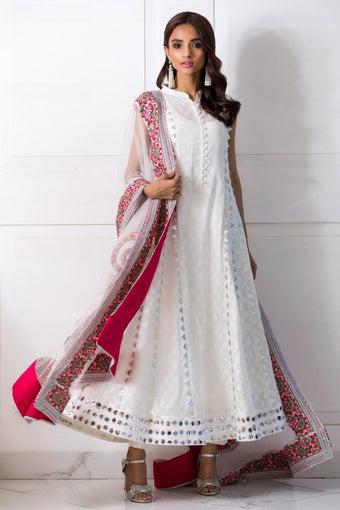 Shehrnaz - White Anarkali With Slip & Pants