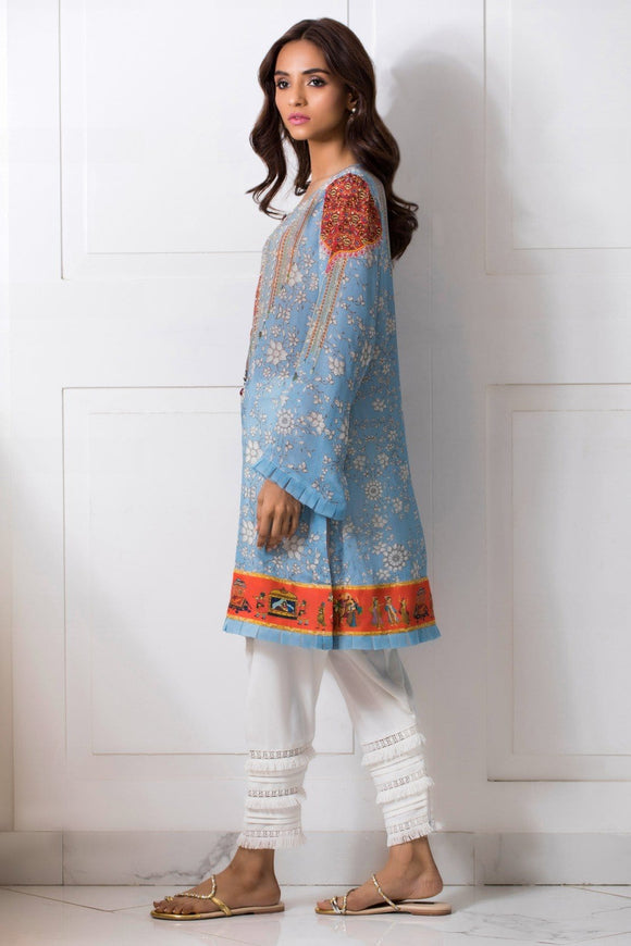 Shehrnaz - Blue Crepe Silk Digitally Printed Shirt