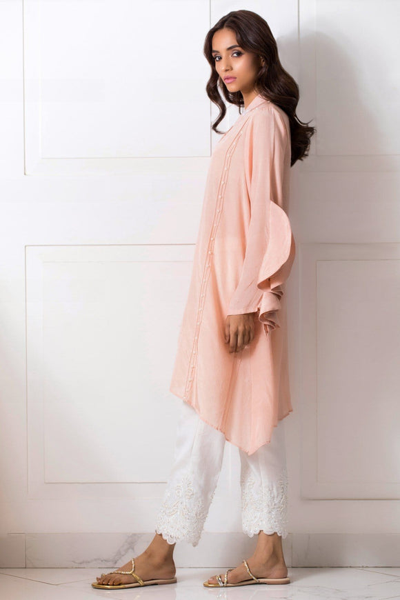 Shehrnaz - Tea Pink Pleated Tunic