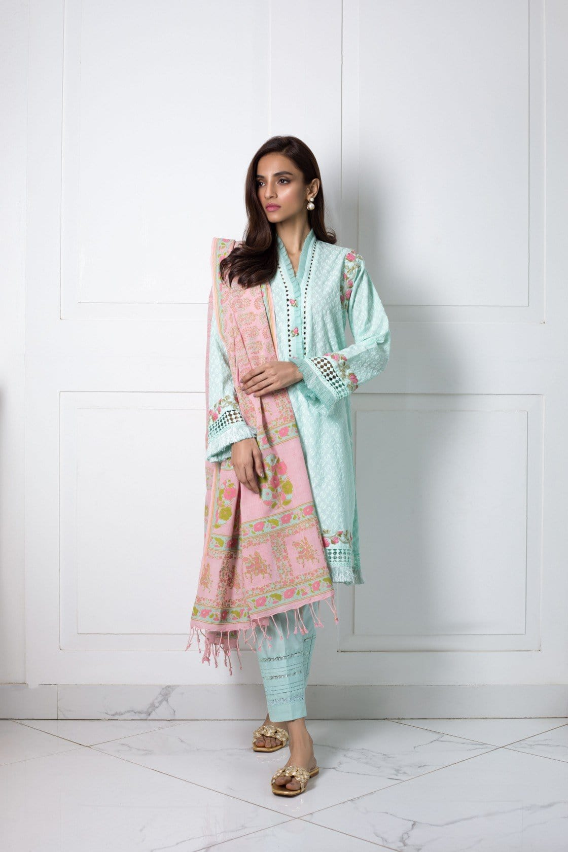Shehrnaz- -Sea Green Chicken Kurta
