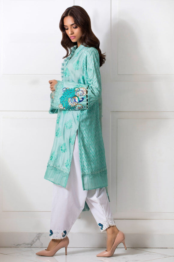 Shehrnaz - Sea Green Kurta And Dupatta With White Cotton Shalwar