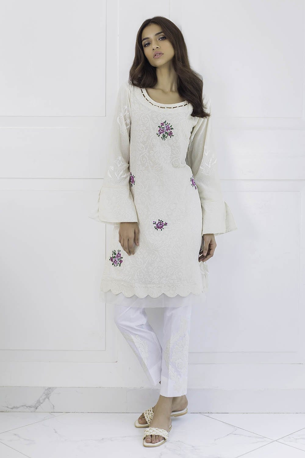 Shehrnaz - Off White Embroidered Shirt