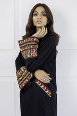 Shehrnaz - Black Cotton Embroidered Shirt