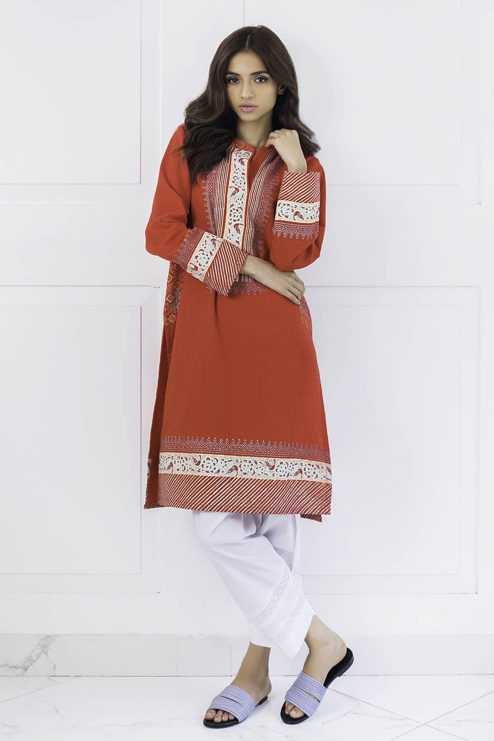 Shehrnaz - Red Karandi Shirt with Block Print