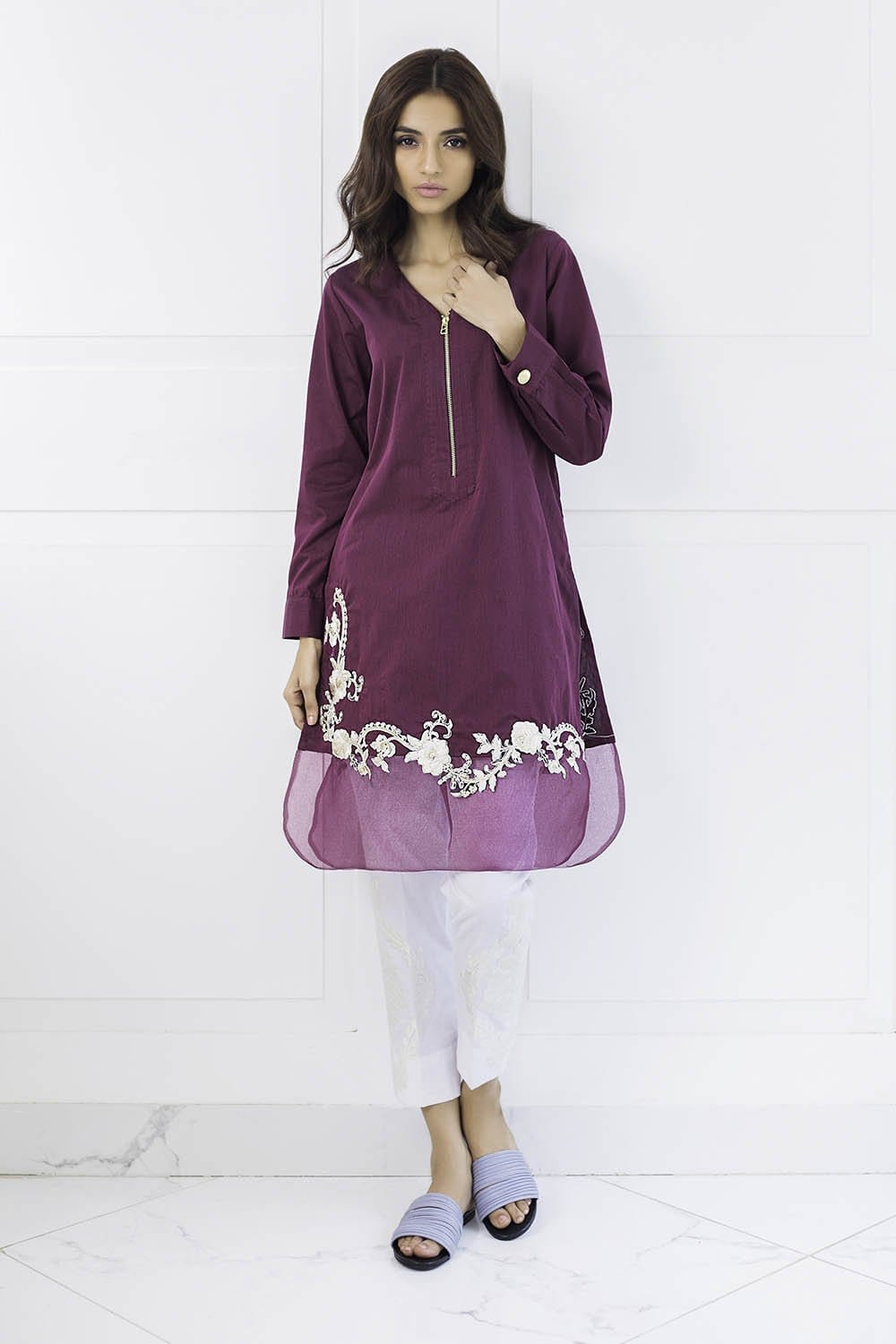 Shehrnaz - Plum Embroidered Cotton Shirt