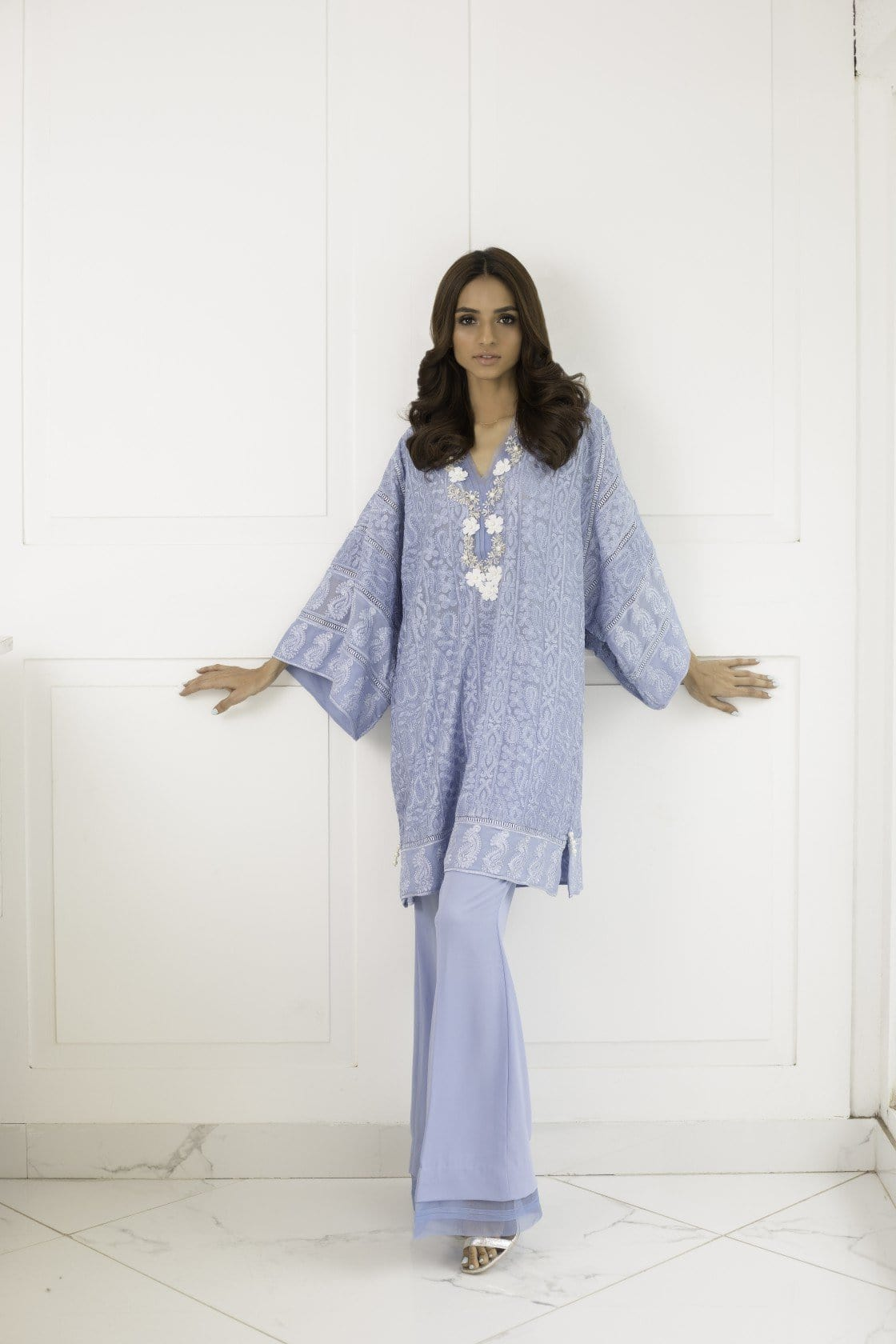 Shehrnaz - Light Blue Embroidered Bunch Top