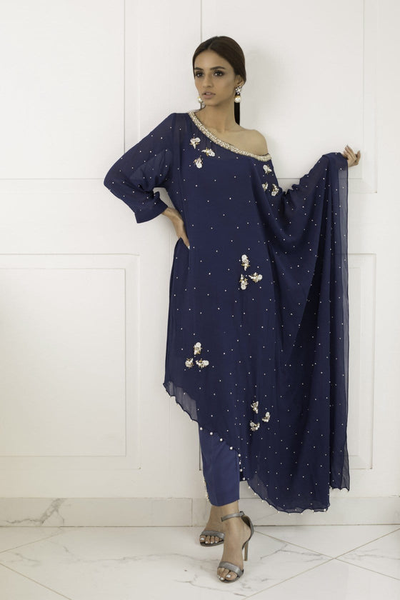 Shehrnaz - Navy Blue Pearl Dust Tunic with Pant