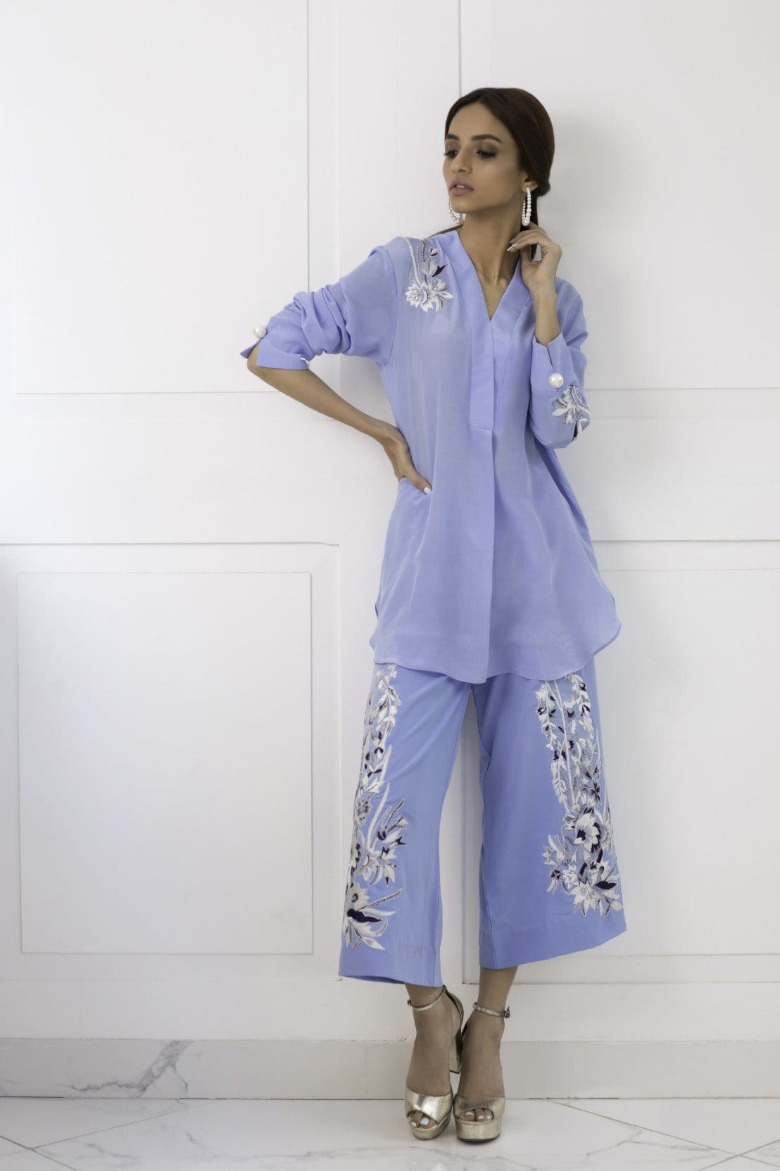Shehrnaz - Blue Embroidered Ferdose With Bell Bottom