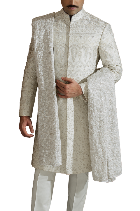 Amir Adnan -  Off White Satin Sherwani