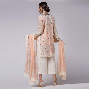 Rizwan Beyg - Pink Shadow Pearls And Sequins Embellished Shirt with Dupatta