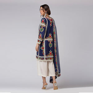 Rizwan Beyg - Floral Silk Embroidered Ink Blue Pure-Crepe Top with Dupatta