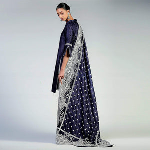 Rizwan Beyg - Paisley White Silk Floss Embroidered Navy Blue Jamawar Shawl