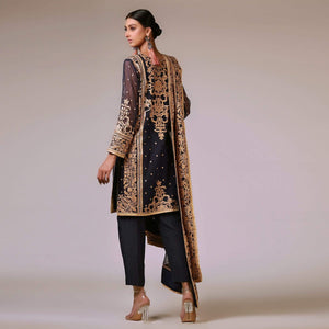 Rizwan Beyg - Navy Blue Silk Floss Embroidered Handloom Net Shirt with Dupatta