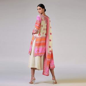 Rizwan Beyg - Baluchi Print Off White Shirt with Dupatta
