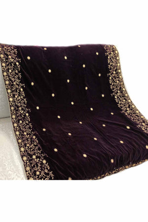 Designs by Amina - Burgundy Velvet Shawl