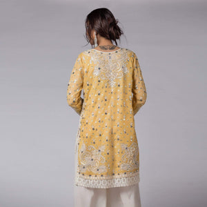 Rizwan Beyg - Yellow Shadow Pearls And Sequins Embellished Shirt with Dupatta