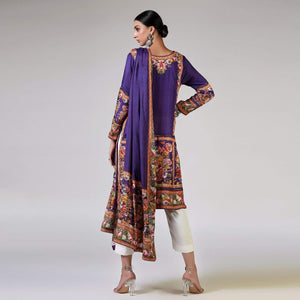 Rizwan Beyg - Renaissance Garlands On Printed Purple Shirt with Dupatta