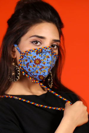 Huma Adnan - Light Blue Floral Print Mask