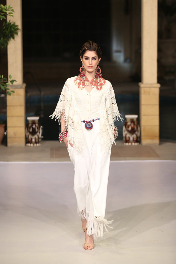 Huma Adnan - Cropped Blouse with Cotton Pants