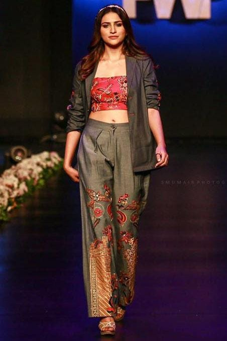 Fnkasia - Fuchia Denim Embroidered Mid Length Jacket & Blouse With Pants.