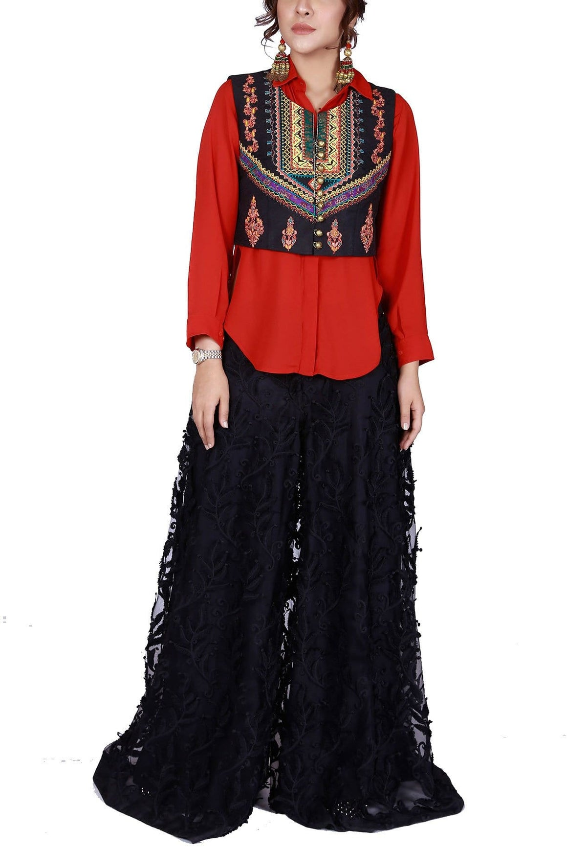 FnkAsia - Red Silk Intricately Embriodered Vest With Pants